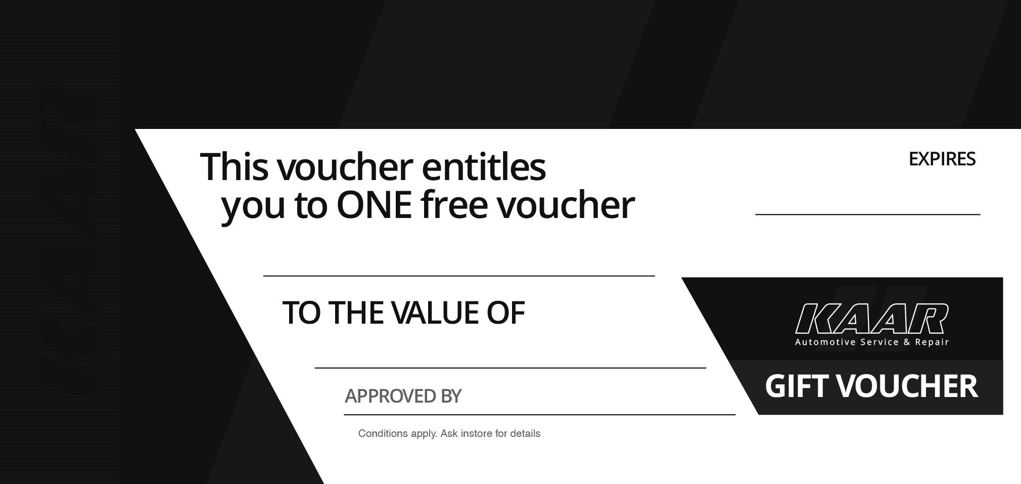 one free voucher - KAAR Promotions